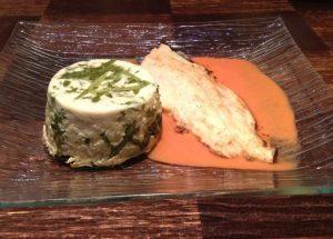 Recette de Filet de Truite sauce au Poivron et vin blanc / Flan aux fanes de Radis