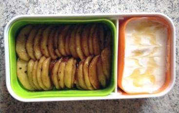 Bento Fromage blanc et Pommes poêlées au miel