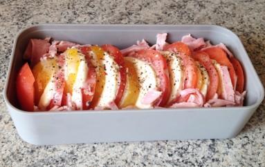 Bento tomates mozzarella et chiffonnade de jambon
