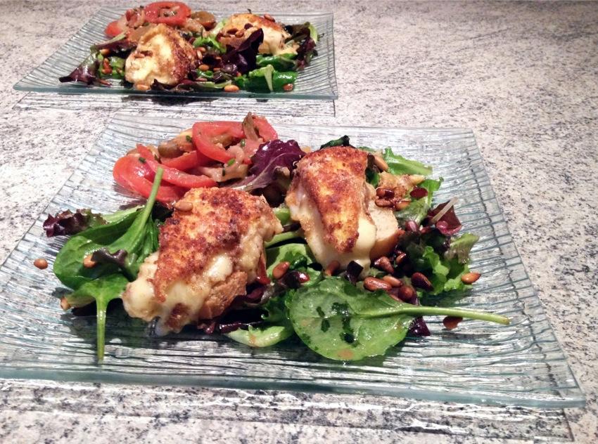salade reblochon panC3A9 1 - Salade et croûtons au reblochon pané