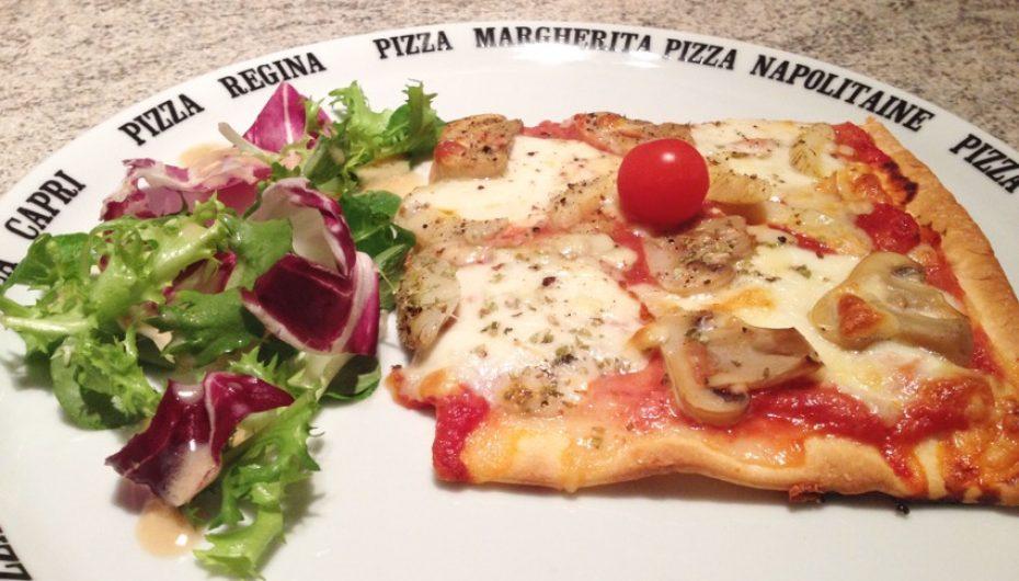 Pizza artichaut, champignons, mozzarella