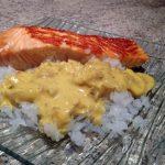 Recette de Pavés de saumon aux épices et gohan de konjac