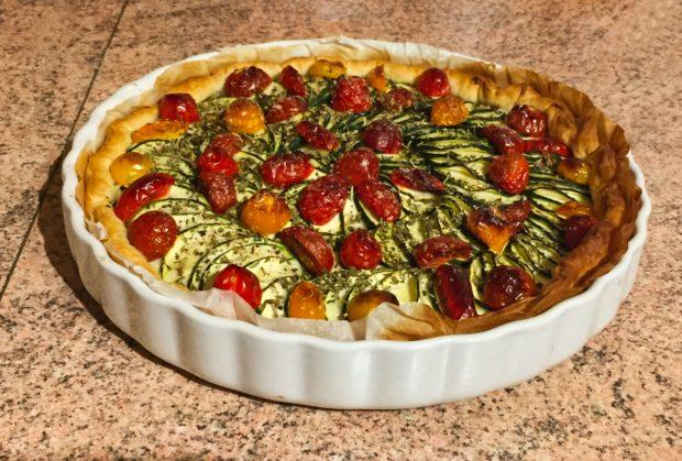 tarte chevre courgettes tomates lardons 1 620x419 - Dossier : La courgette dans tous ses états