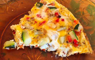 Omelette courgette, oignon, poivron