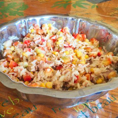 salade riz thon mais poivron 2 380x380 - Salade de riz au thon, maïs et poivron