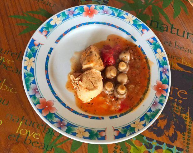 IMG 1184 620x490 - Poulet tomates et champignons (recette Companion)