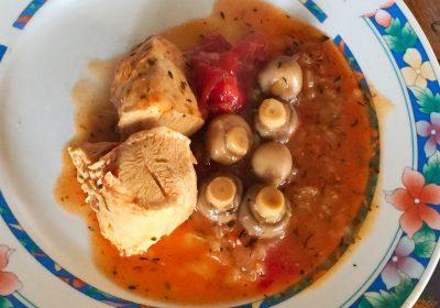 IMG 1184b 400x280 - Poulet tomates et champignons (recette Companion)