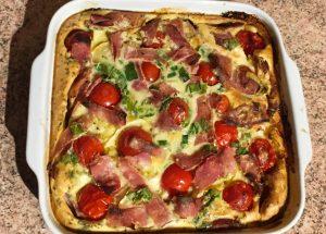 IMG 2095 300x215 - Clafoutis au chèvre, poivrons, jambon, tomates