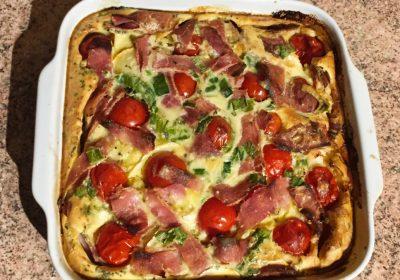 IMG 2095 400x280 - Clafoutis au chèvre, poivrons, jambon, tomates