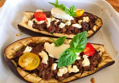 IMG 3794 400x280 - Aubergines farcies viande hachée, menthe, tomate, feta