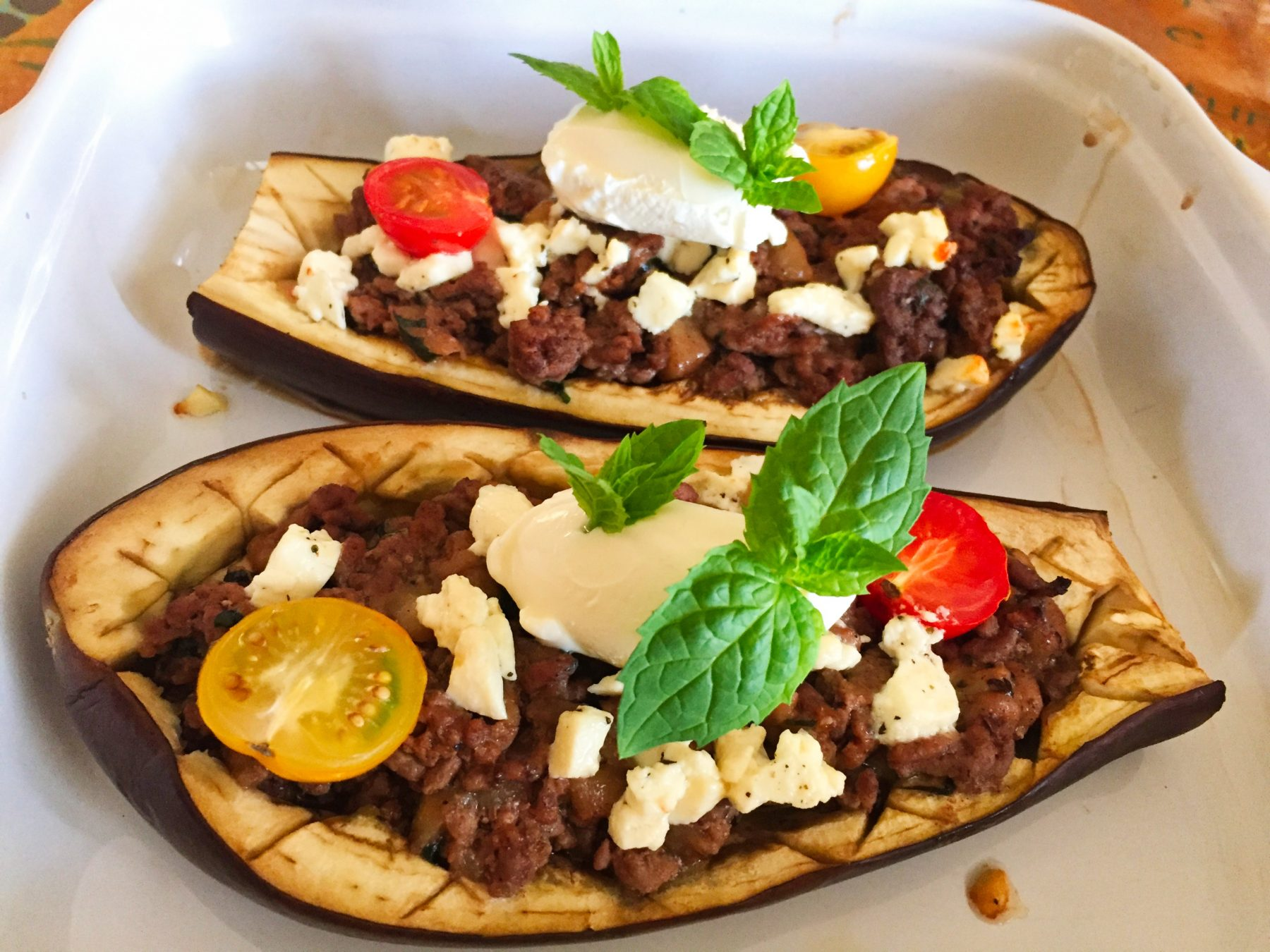 IMG 3794 - Aubergines farcies viande hachée, menthe, tomate, feta