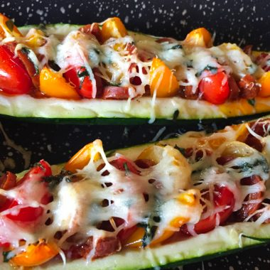 IMG 3853 380x380 - Courgettes au chorizo façon pizza