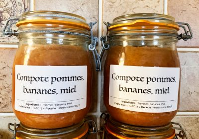IMG 5737 400x280 - Compote pommes miel bananes (conserves)