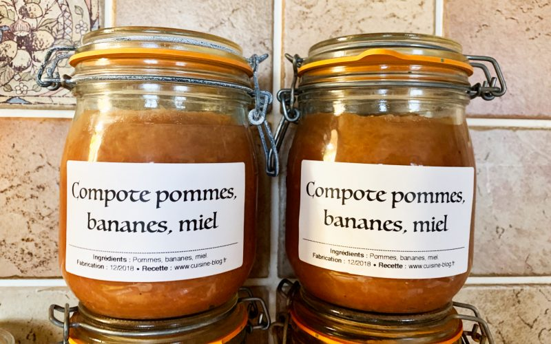 Compote pommes miel bananes (conserves)