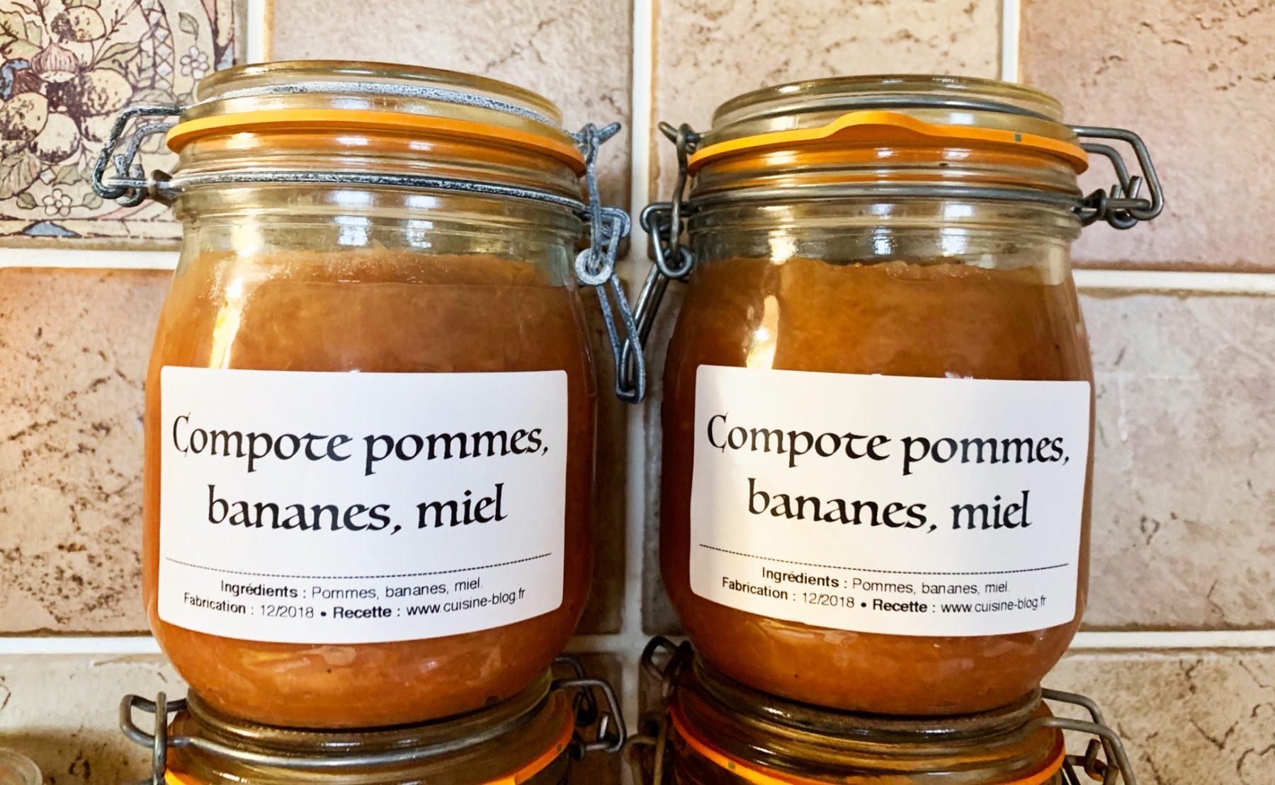 Recette de compote pommes miel bananes conserves cuisine blog - Sterilisation plats cuisines bocaux ...